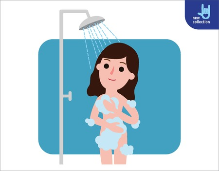 woman washing hair: Happy woman taking shower in bathroom.Shower with running water. People healthy lifestyle concept.Vector flat style cartoon character design illustrationIsolated on white background