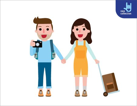 couple together: Traveling couple together of young people during summer vacation.Happy Man and woman with luggage.Honeymoon journey concept. lifestyleVector flat style cartoon character design illustration