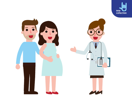 Pregnant young woman visiting doctor.Happy  doctor standing saying with pregnant girl.healthy lifestyle concept.Vector people flat style cartoon character design illustrationIsolated