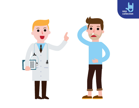 people  male: happy doctor standing with talking to his male patient.Men are flu saying with physician.Healthy lifestyle concept.Vector people flat style cartoon character design illustrationIsolated Illustration