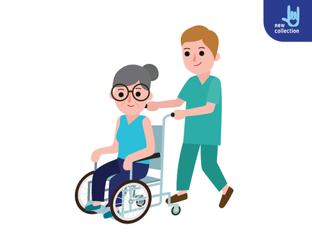 Nurse man on a walk with disabled grandmother in a wheelchair. Illustration