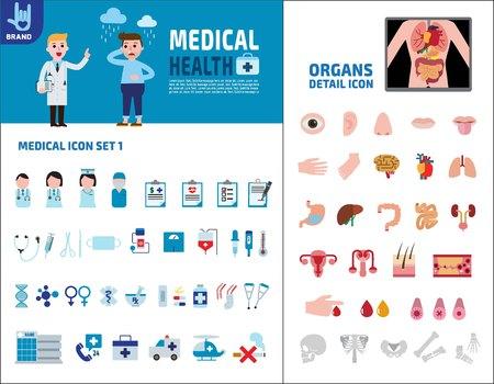 Atención médica y de salud. Ingographic elements.Vector plana diseño de iconos. Concepto de salud.Isolado en la ilustración de folleto de background.presentation blanco.