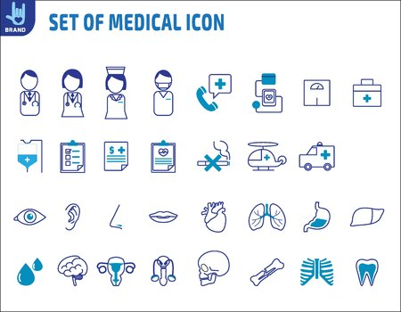 medical heart: Set of icons line Medical Healthcare and internal organs.Vector flat icons design. health concept.Isolated on white background. Illustration
