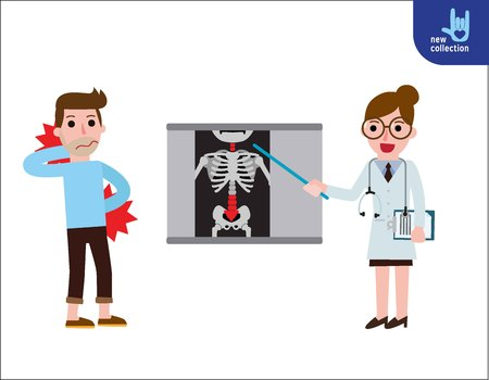 Doctor explaining the results of a CT scanof the spine to his man patient suffering with low back pain.Vector flat icon cartoon design illustration Illustration