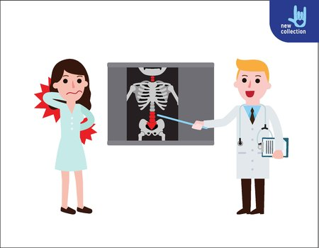 Illustration of a doctor explaining the results of a CT scan of the spine to a woman patient suffering with low back pain.