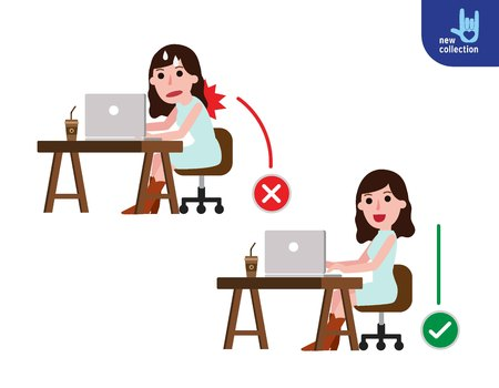 Correct and incorrect sitting posture.Medical healthcare concept.Vector flat icon Business woman cartoon design illustration