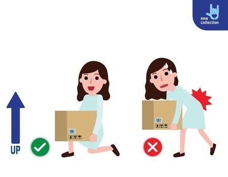 buena postura: Correcta e incorrecta postura de elevación Vector icono plano de diseño de dibujos animados ilustración. Concepto médico de la atención sanitaria.