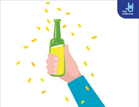Close up hands holding the beer bottles.Cheers. celebration. party concept.Vector flat cartoon design illustration.Isolated on white background.