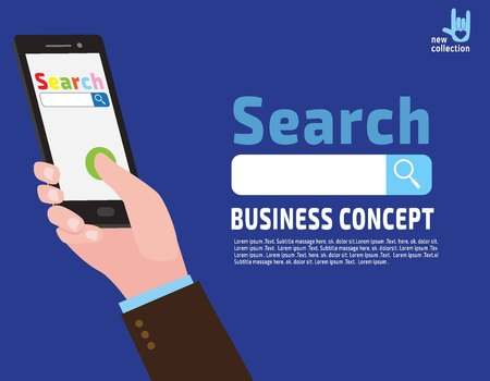 search searching: Businessman holding smartphone in hand.Mobile app technologies for phones. Search on the internet. Searching concept.Vector flat cartoon design illustration.Isolated on white background.