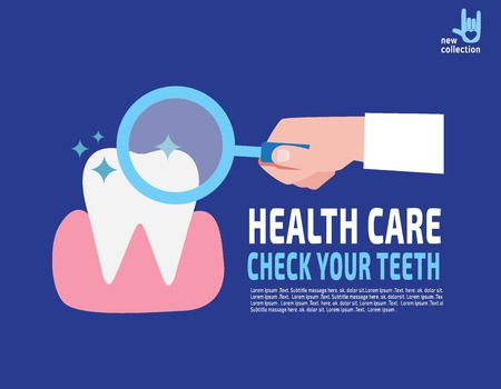 checking: Close up. doctor Magnifying glass hold in hand.Dentist check tooth. caries. tooth decay.Medical healthcare concept.Vector flat cartoon design illustration.Isolated on background.