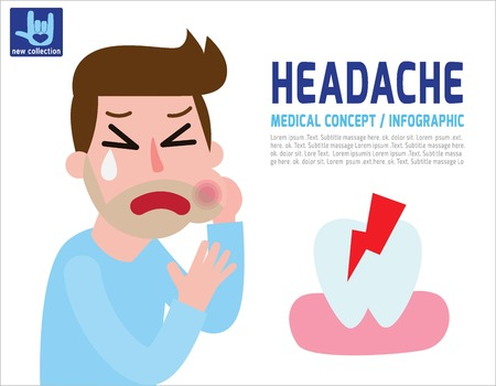Man with a toothache.Businessman touching his cheek and feel aching tooth.Health concept.vector flat icon cartoon design illustration.brochure banner poster. Illustration