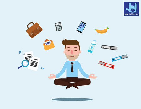 Businessman sitting in padmasana lotus pose with flying around documents, phone, flying around himOffice worker multitasking & meditating, relaxing doing yoga.Vector flat Business illustration