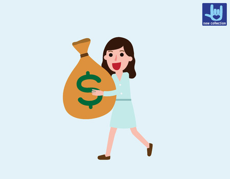 bureaucrat: Smiling businesswoman walking & carrying big heavy sack full of cash money.Vector flat cartoon character design.Business illustration concept.isolated on white backgroud