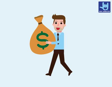 bureaucrat: Smiling businessman walking & carrying big heavy sack full of cash money.Vector flat cartoon character design.Business illustration concept.isolated on white backgroud