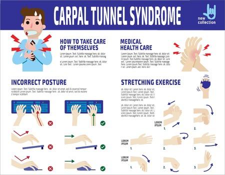 손목 관절 증후군 infographic, 사업가. 사업가 손목 통증입니다. 건강 관리 개념입니다. 벡터 플랫 스타일 만화 캐릭터 아이콘 디자인 일러스트 레이 션.