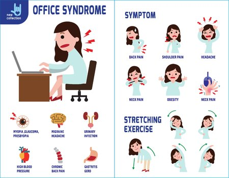 Office syndrome Info-graphics. Info-graphic Banner Brochure.Medical Healthcare Concept.] Vettoriali