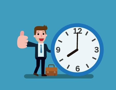 Soporte de hombre de negocios feliz apoyándose en el gran reloj. Concepto de gestión del tiempo. Diseño de icono de personaje de dibujos animados plano de vector. Aislado en backgroud