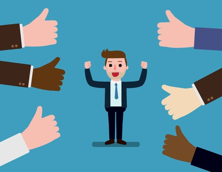 Happy and proud businessman with many thumbs up hands around him.Concept Business compliment.Vector flat cartoon character icon design.illustration isolated on backgroud
