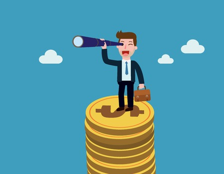 Businessman stands on a mountain of coins and looks afar through a spyglass. Business and finance concept.Vector flat cartoon character icon design.illustration isolated on backgroud