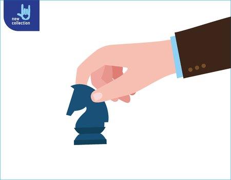 closeup businessman hand holding chess knight piece.strategy. strategic move concept. Business illustrationVector flat cartoon icon design. Ilustrace