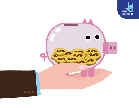 Businessman holding a piggy banck of business plan and strategy Presenting investment and financial growth concept Vector flat cartoon design illustration. Isolated on background.