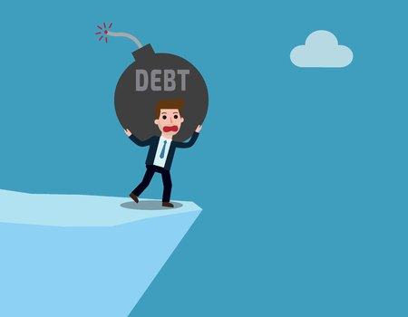 debt. businessman  business concept. Vector flat cartoon character icon design. illustration isolated on backgroud