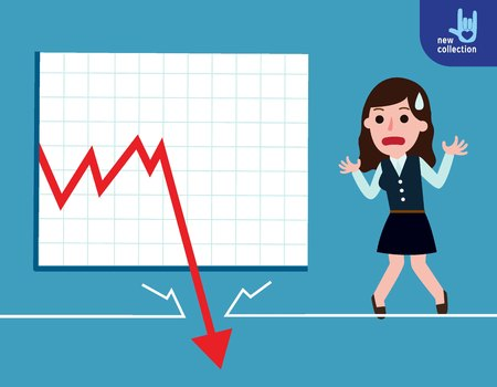 Business woman be sad on the floor as the stock market falls badly.depicts financial failure,bearish stock market, bad sales,business loss, and investment lost.