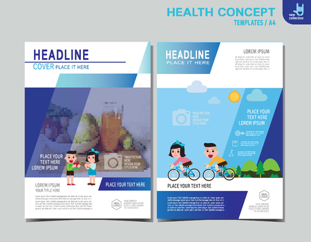 pareja comiendo: Healthy flyer brochure layout banner poster template.exercise and eating health food. Healthcare concept. Vector flat icon cartoon design infographic illustration.children biking. character Vectores