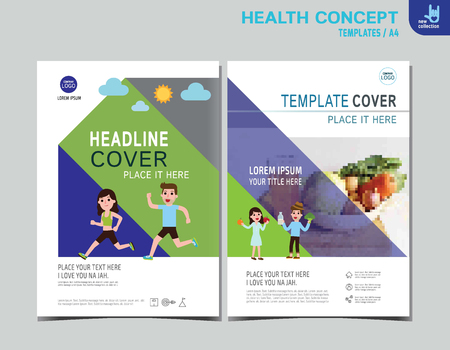 pareja comiendo: Healthy flyer brochure layout banner poster template.exercise and eating health food. Healthcare concept. Vector flat icon cartoon design illustration.people character running. diet.