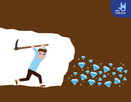 Person worker digging and mining for diamond in an underground tunnel.success, achievement, and discovery concept.Vector flat cartoon character icon design.illustration Illustration