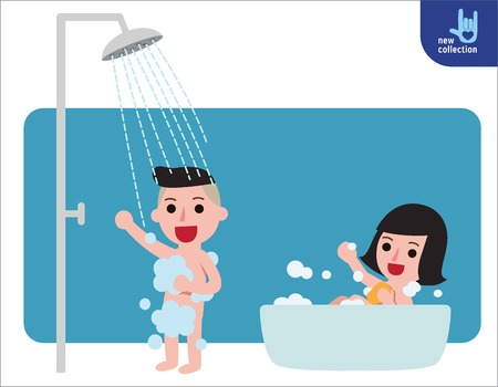 Happy boy and girl taking shower in bathroom.Shower with running water. People healthy lifestyle concept.Vector flat style cartoon character design illustrationIsolated on white background. Vectores
