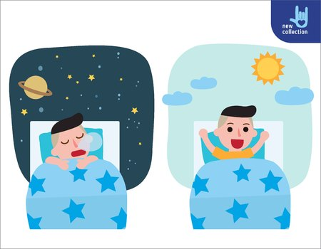 A happy boy wake up on the stretching bed.and sleeping. good morning and good night.People healthy lifestyle concept.Vector flat style cartoon character design illustrationIsolated