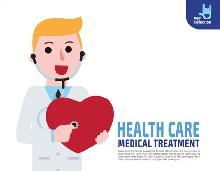 auscultation: A smiling doctor examining a red heart shapedwith a stethoscope against.healthcare concept.Vector flat icon cartoon design illustration.isolated on white Illustration