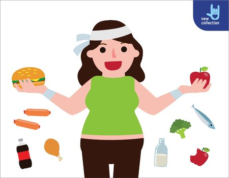 Young woman obesity with big hamburger and apple in hands. Fat female. infographic food concept.healthy lifestyle.Vector flat style cartoon character design illustration.