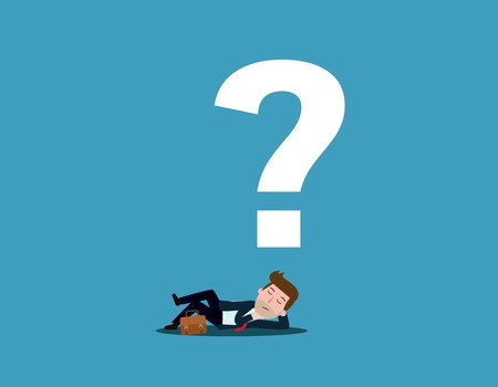 Man is thinking. Question mark. Vector flat cartoon character icon design illustration style.
