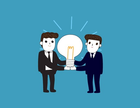 Idea development business concept. Business people carrying big light bulb. Vector illustration flat and linear design style Illustration