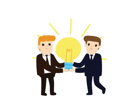Idea development business concept.business people carrying big light bulb.Vector illustration flat design style