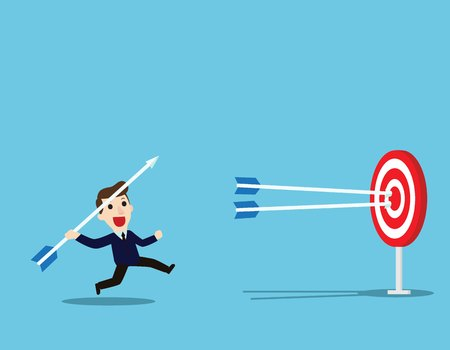 Successful Businessman aiming arrow towards target.Concept business.Vector flat cartoon character design background illustration