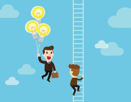 Homme d'affaires heureux holding ampoules idée comme balloonsflying passer un autre homme d'affaires grimper une échelle. Concept de concurrence des entreprises. Vector illustration de dessin animé plat personnage design fond