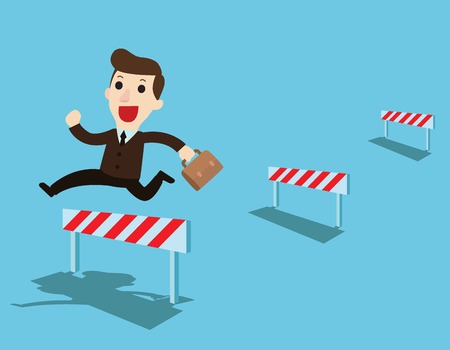 Happy Businessman jumping over ascending obstacles like hurdle race.Business Overcome obstacles concept.Vector flat cartoon character design illustration. Isolated on background.