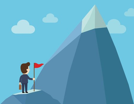 Purposeful businessman with flag in hand.