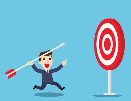 Targeting High.Businessman aiming the target.Business Goal Concept.Vector illustration flat cartoon character design. Illustration