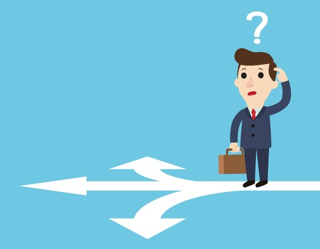 Choices and decision concept.Doubtful businessman selecting the best solution.businesspeople standing at cross road.business vector illustration flat cartoon.