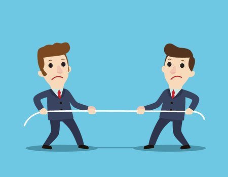 Competition concept.Business people. Businessmen in suit pull the ropesymbol of rivalry, Corporate conflicts.competition, conflict.business vector illustration flat cartoon.