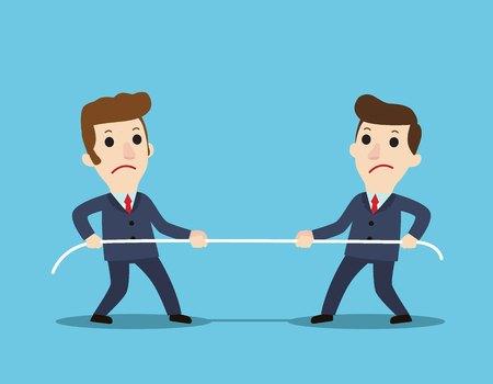 Koncepcja konkurencji. Ludzi biznesu. Biznesmeni w garniturze ciągną za linę symbol rywalizacji, konflikty korporacyjne. Konkurencja, konflikt. Biznes ilustracja wektorowa płaski kreskówka.
