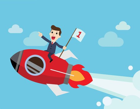 Happy businessman holding number one flag sitting on rocket ship flying on sky. Business Start up concept. Vector flat cartoon character illustration design.  Illustration