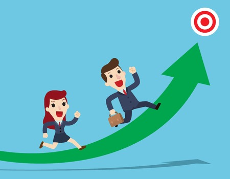 Reach the target. Happy Businessman and woman running on graph to the target.Concept business.Vector flat cartoon cute character design illustration Illustration