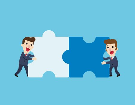 Business concept. Teamwork metaphor.Businessman connecting puzzle elements.Combining two pieces. Working together. cooperation. partnership.Vector flat cartoon cute character design illustration