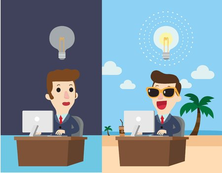 Happy businessman working at his desk and creating a idea bulbs.and sad businessman working at his desk and not answer idea.Business idea concept.