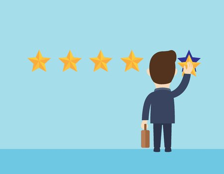 Businessman holding a gold star in hand to give five.Feedback quality work concept. Star rating.Positive review evaluation system.Vector flat cartoon cute character design illustration.